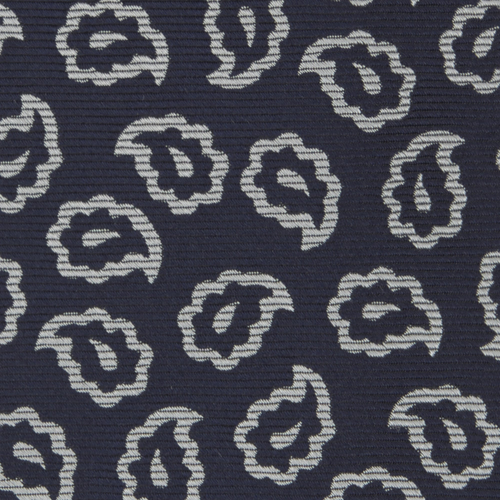 Navy and White Petal Paisley Silk Tie