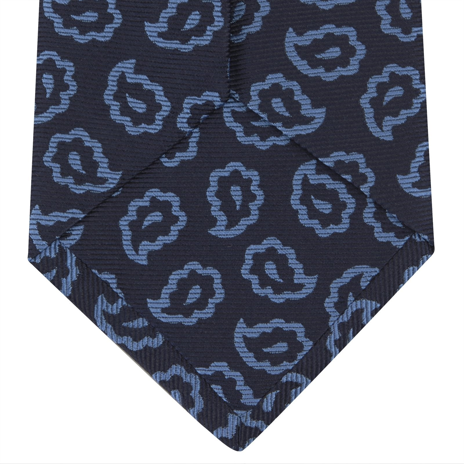 Navy and Blue Petal Paisley Silk Tie