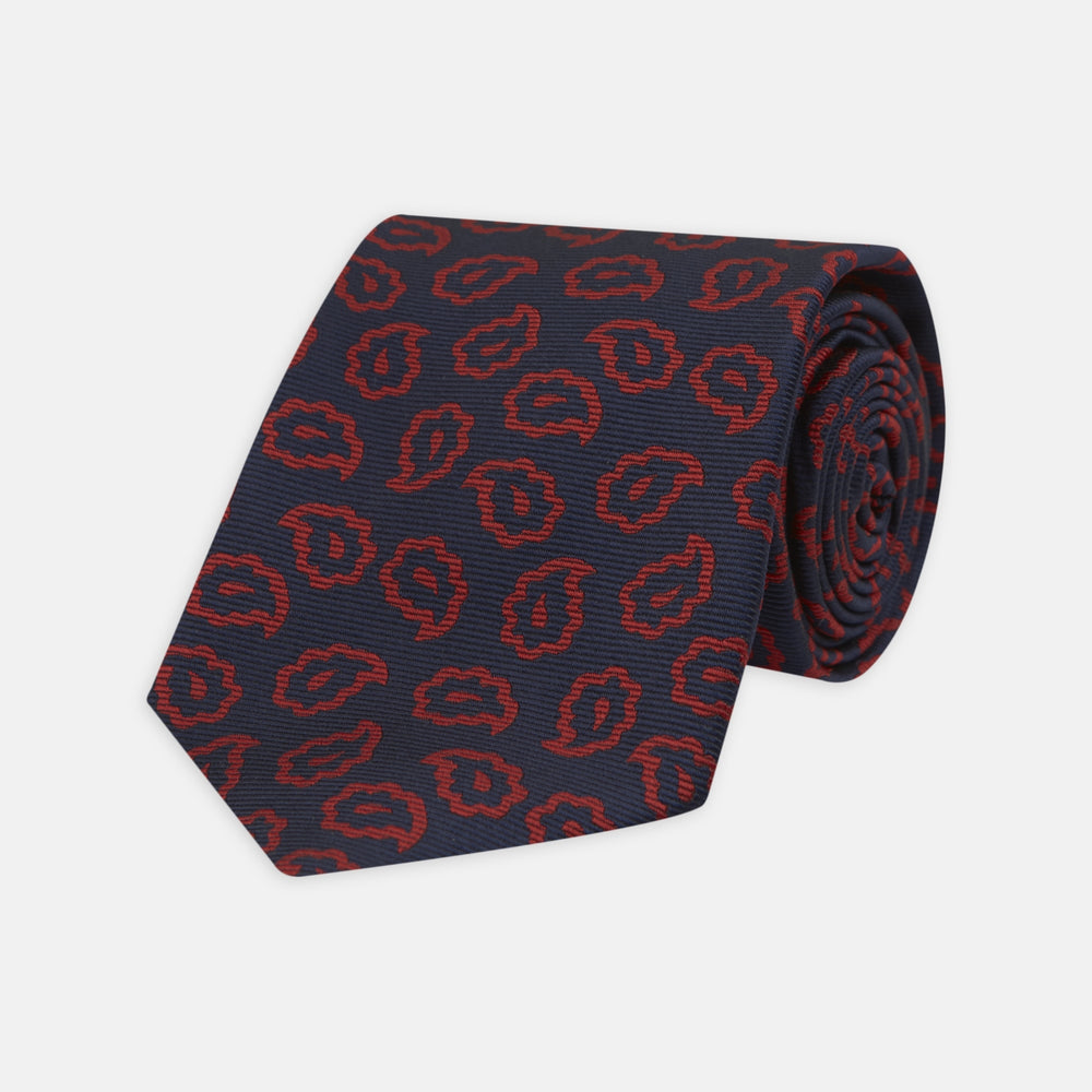 Navy and Red Petal Paisley Silk Tie