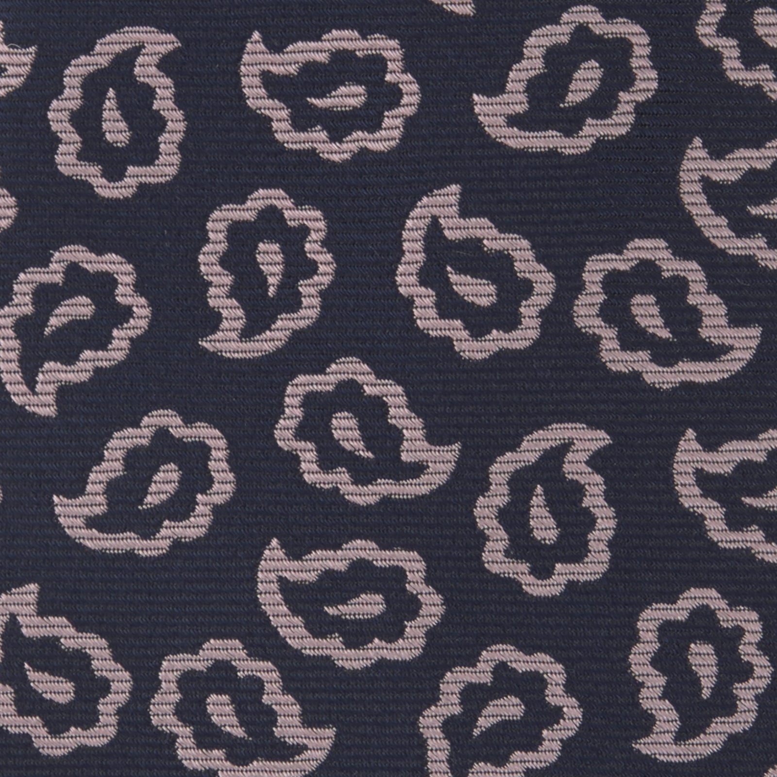 Navy and Pink Petal Paisley Silk Tie