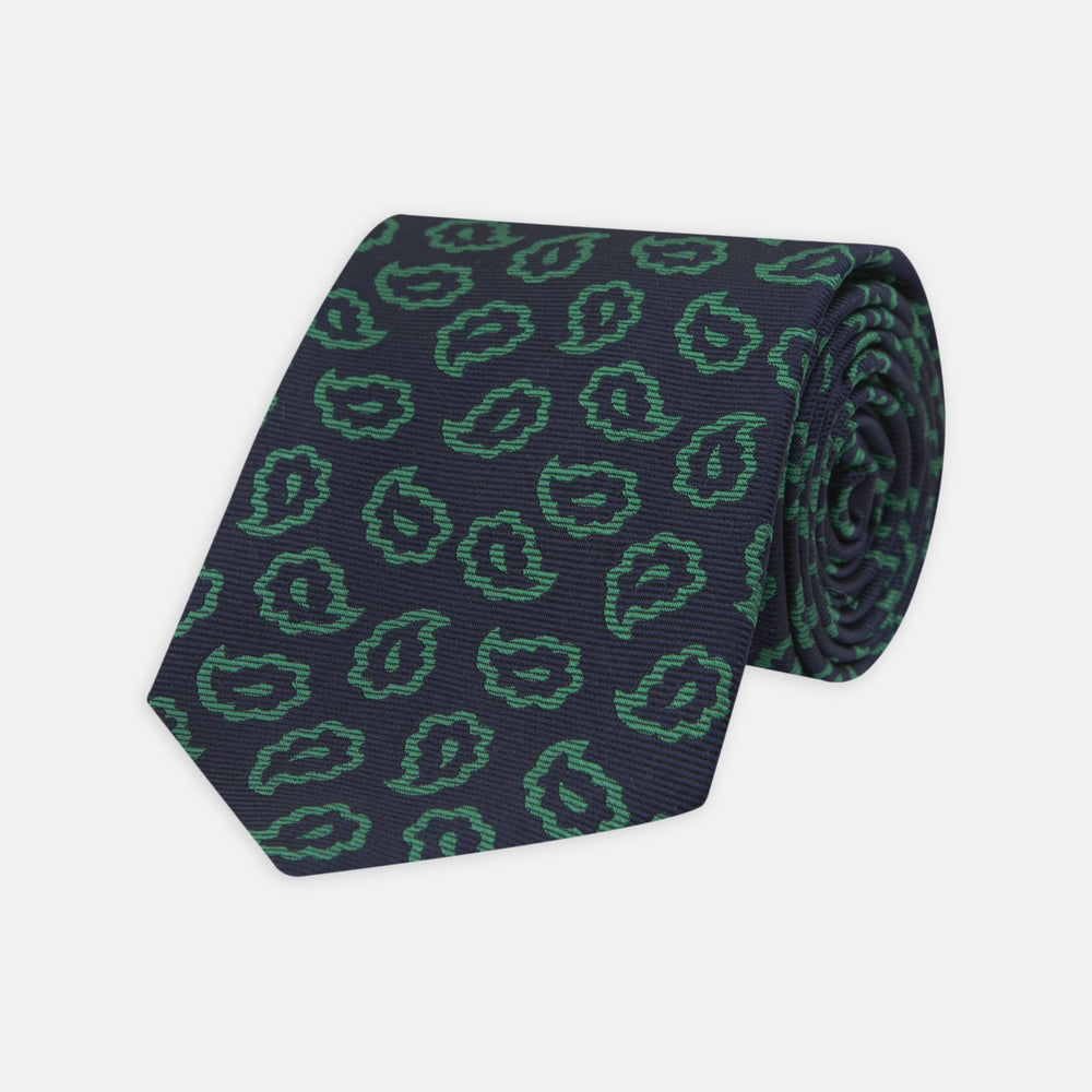 Navy and Green Petal Paisley Silk Tie