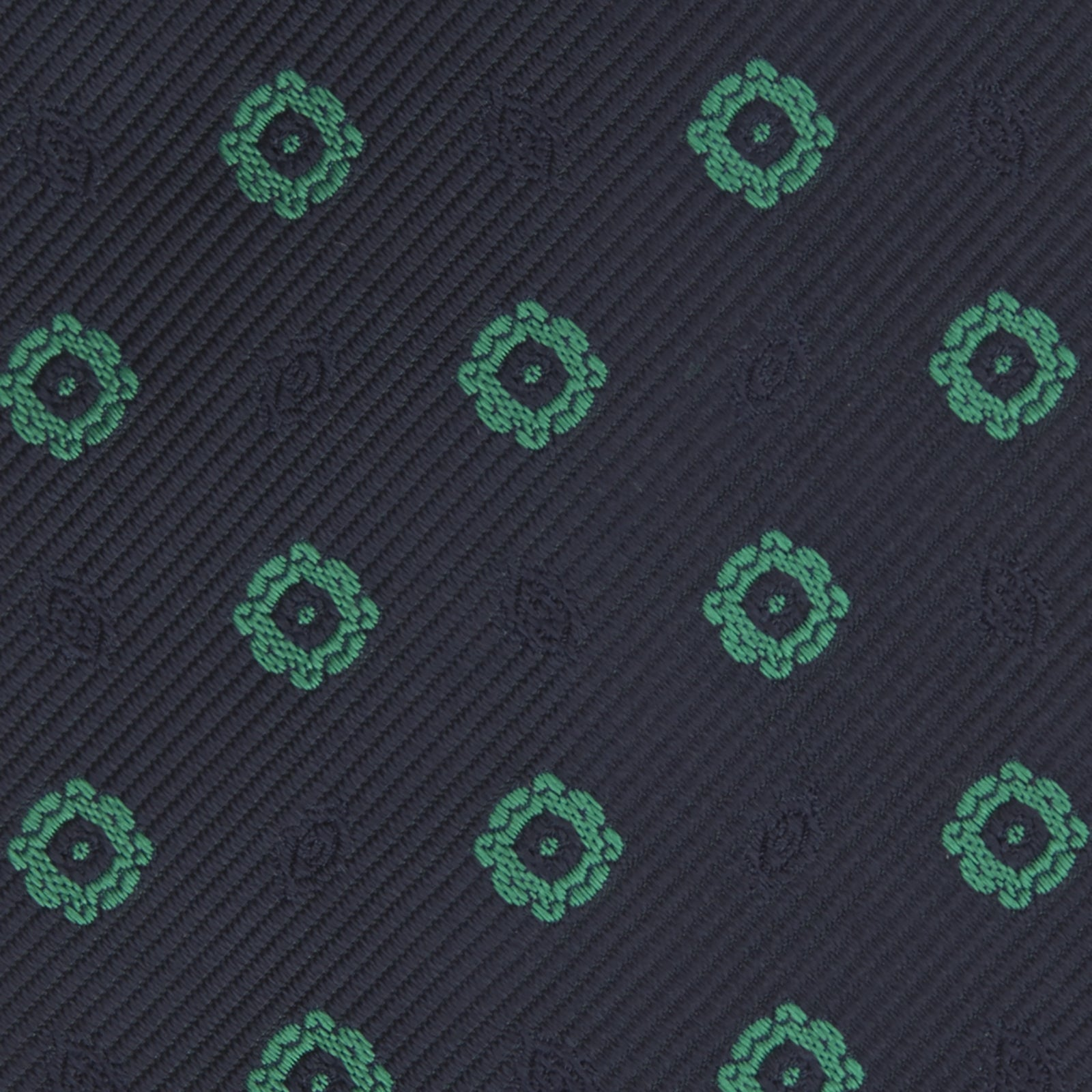 Navy and Green Emblem Spot Silk Tie