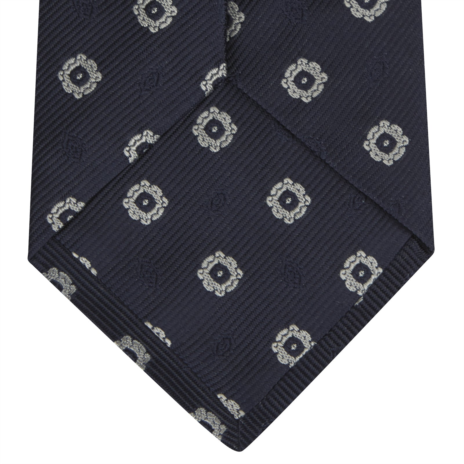 Navy and Silver Emblem Spot Silk Tie
