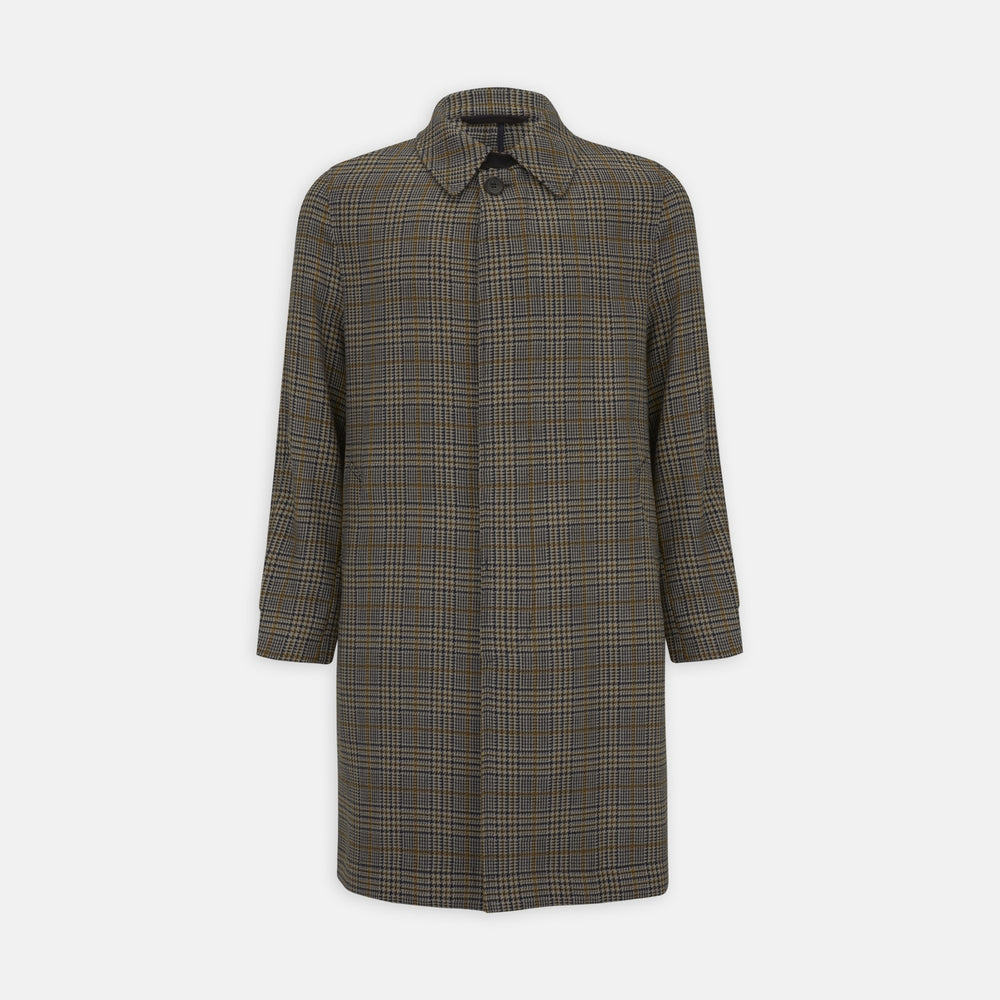 Checked Wool Car Coat