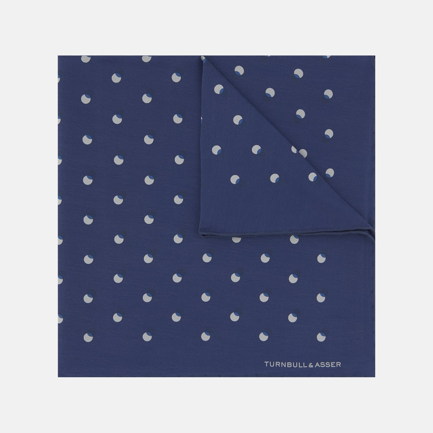 Navy Drop Shadow Silk Pocket Square