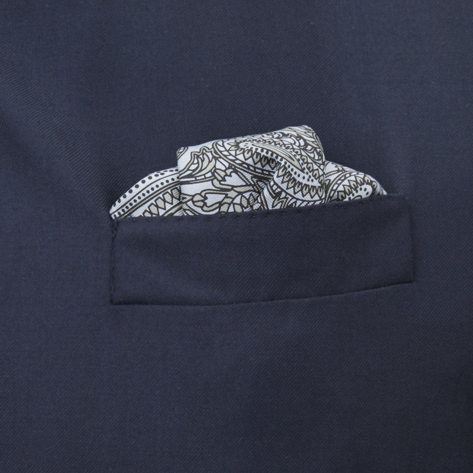 Monochrome House Paisley Silk Pocket Square