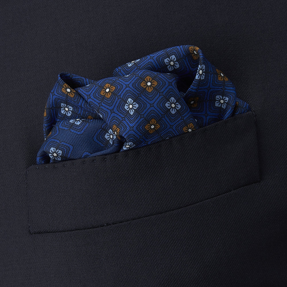 Blue Rose Silk Pocket Square