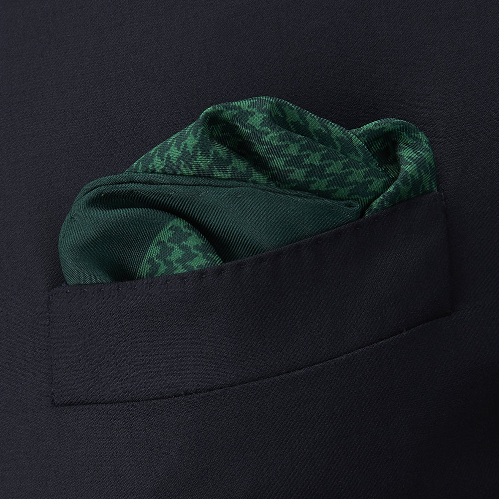 Green Houndstooth Silk Pocket Square