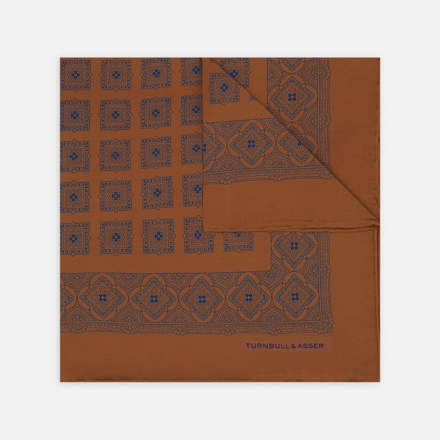 Orange Classical Medallion Silk Pocket Square