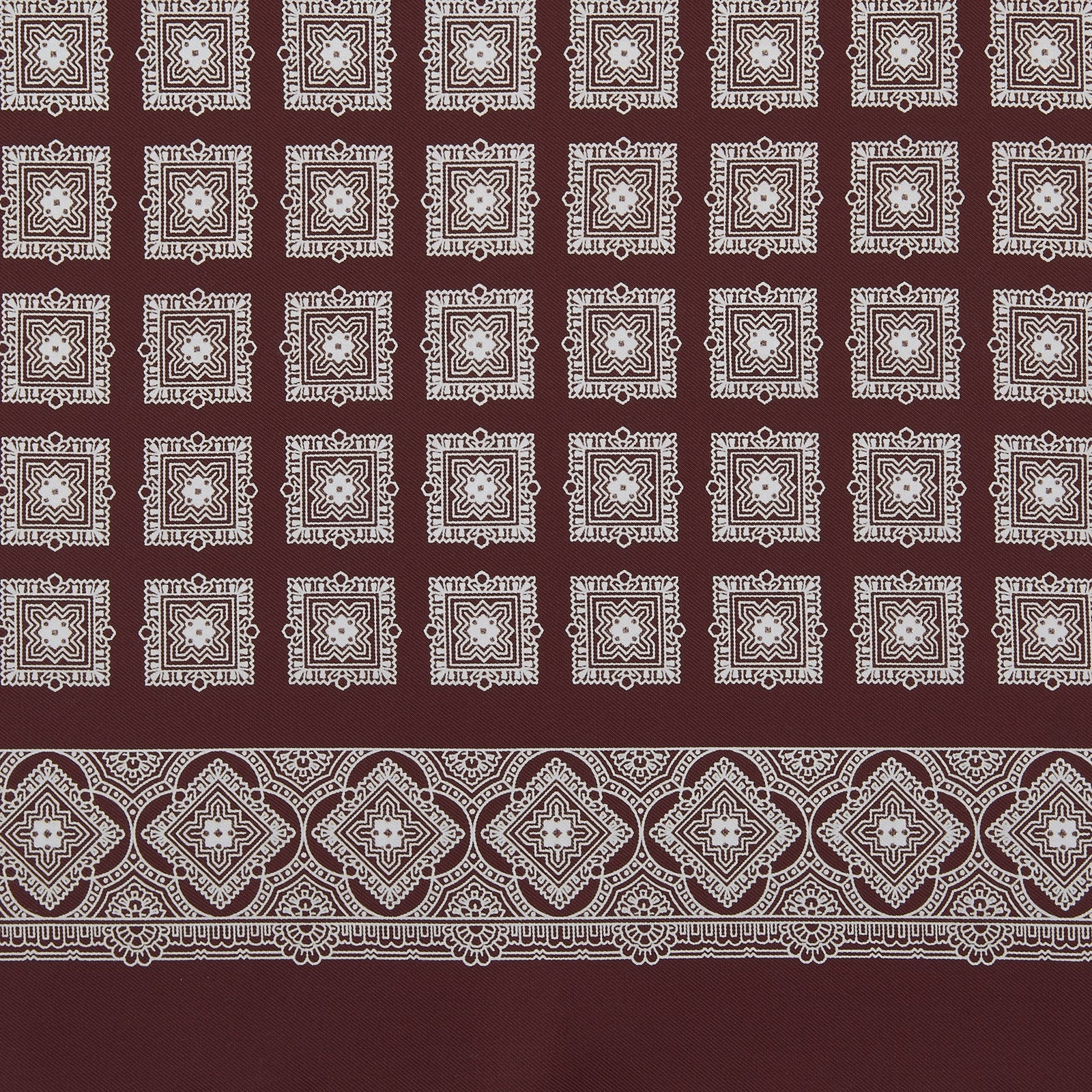 Burgundy Classical Medallion Silk Pocket Square