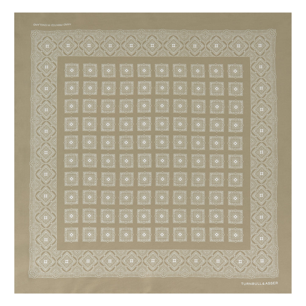 Cream Classical Medallion Silk Pocket Square