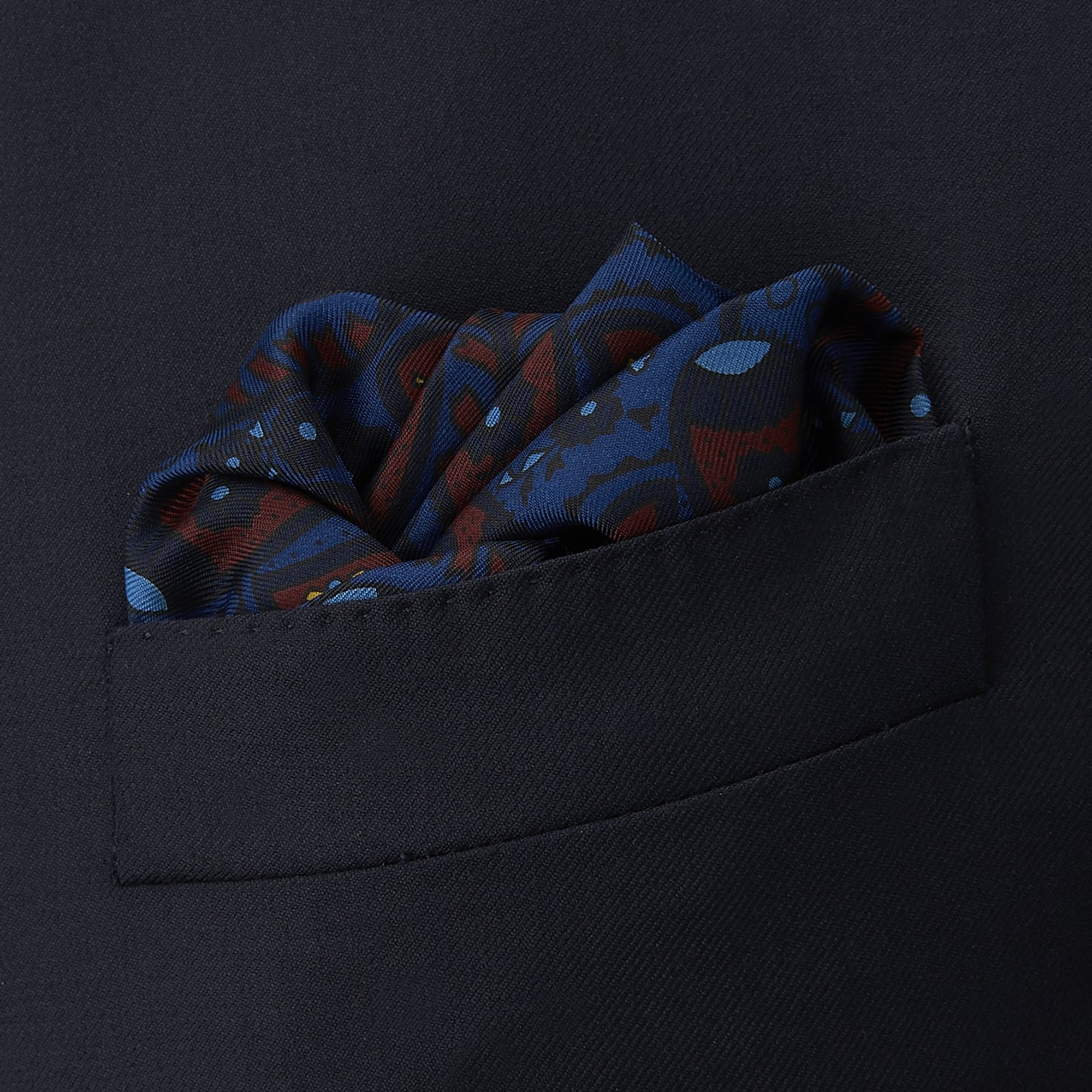 Burgundy and Navy Paisley Swirl Silk Pocket Square