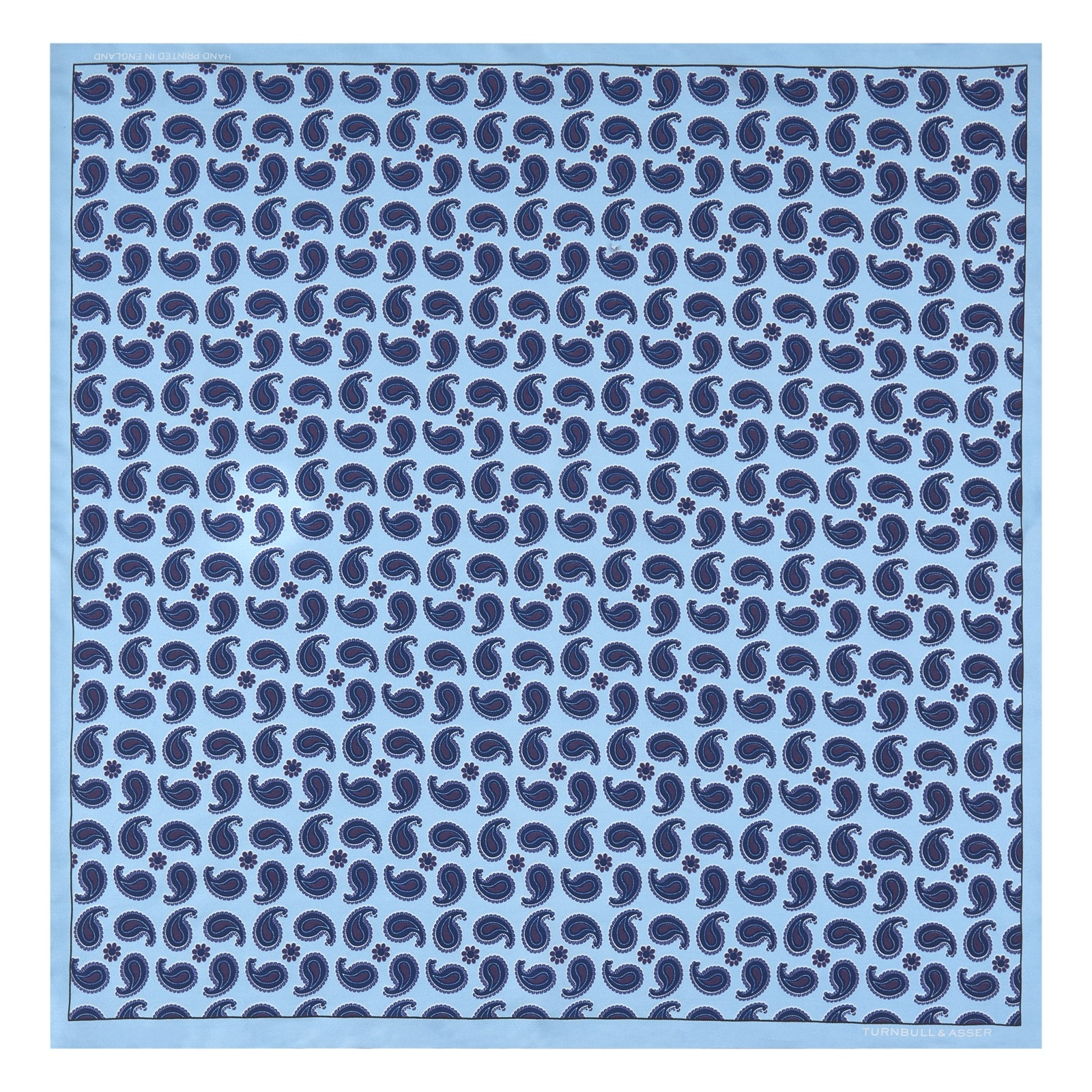 Turquoise Paisley Mill Silk Pocket Square