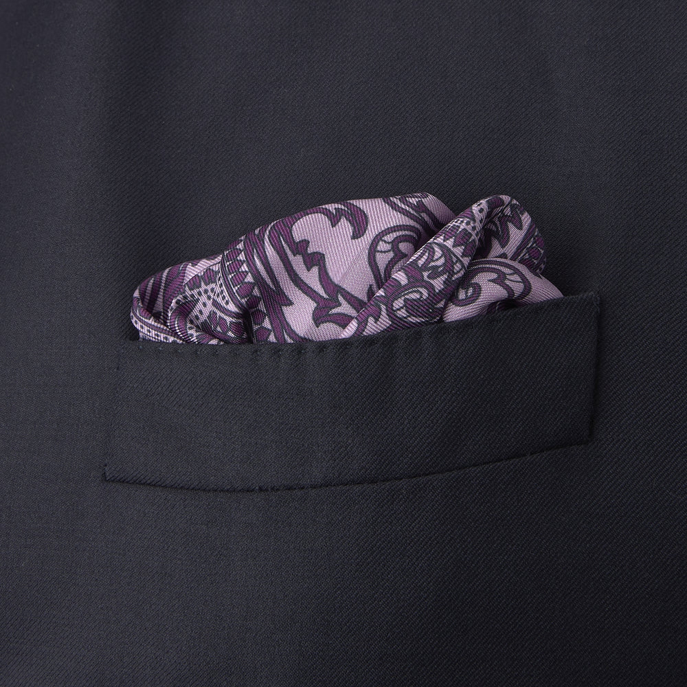 Purple House Paisley Silk Pocket Square