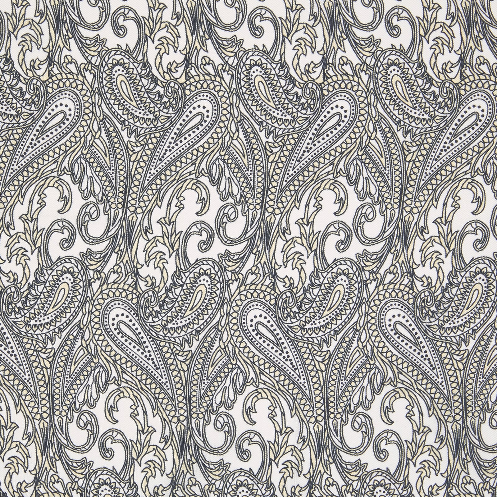 White and Yellow House Paisley Silk Pocket Square