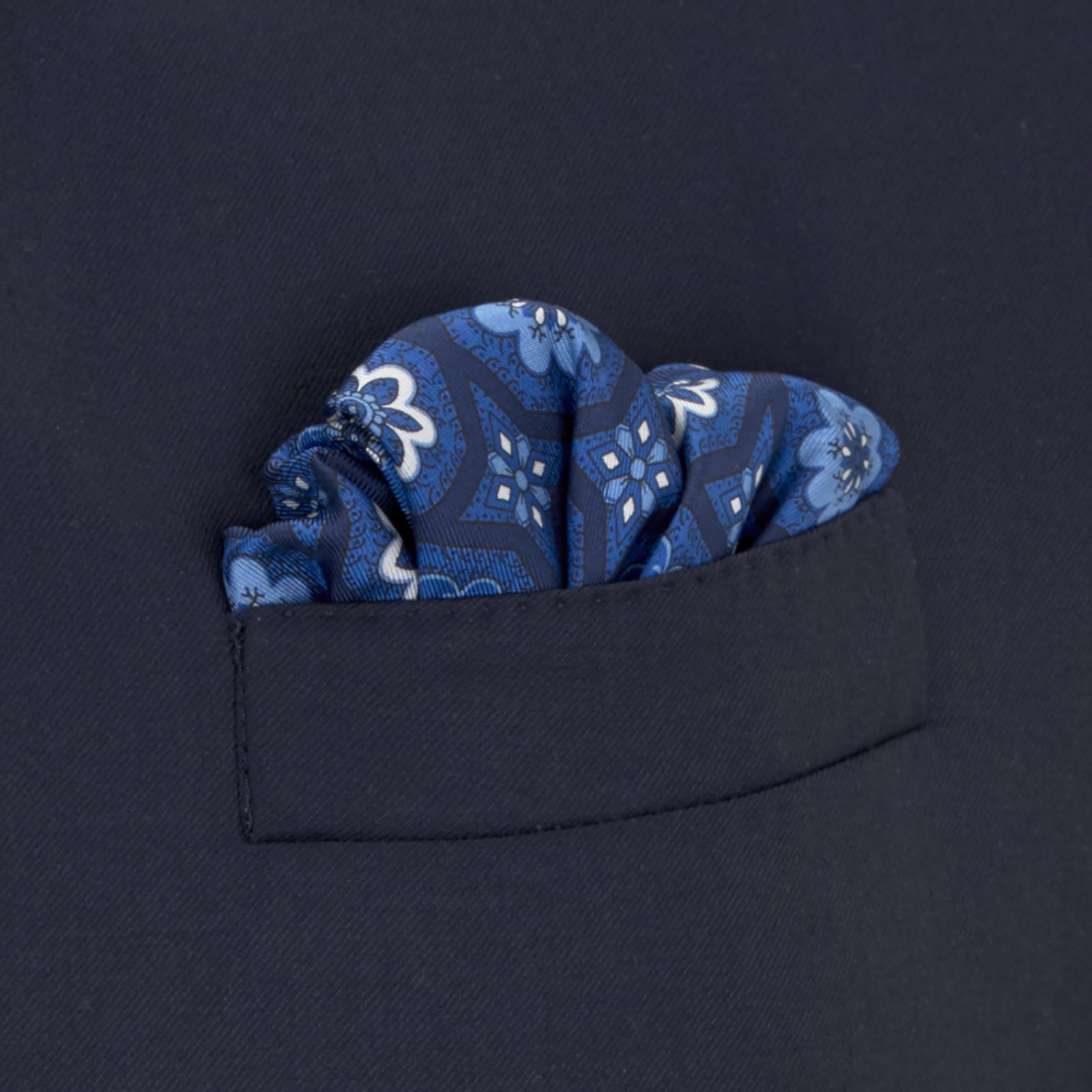Blue Floral Medallion Silk Pocket Square