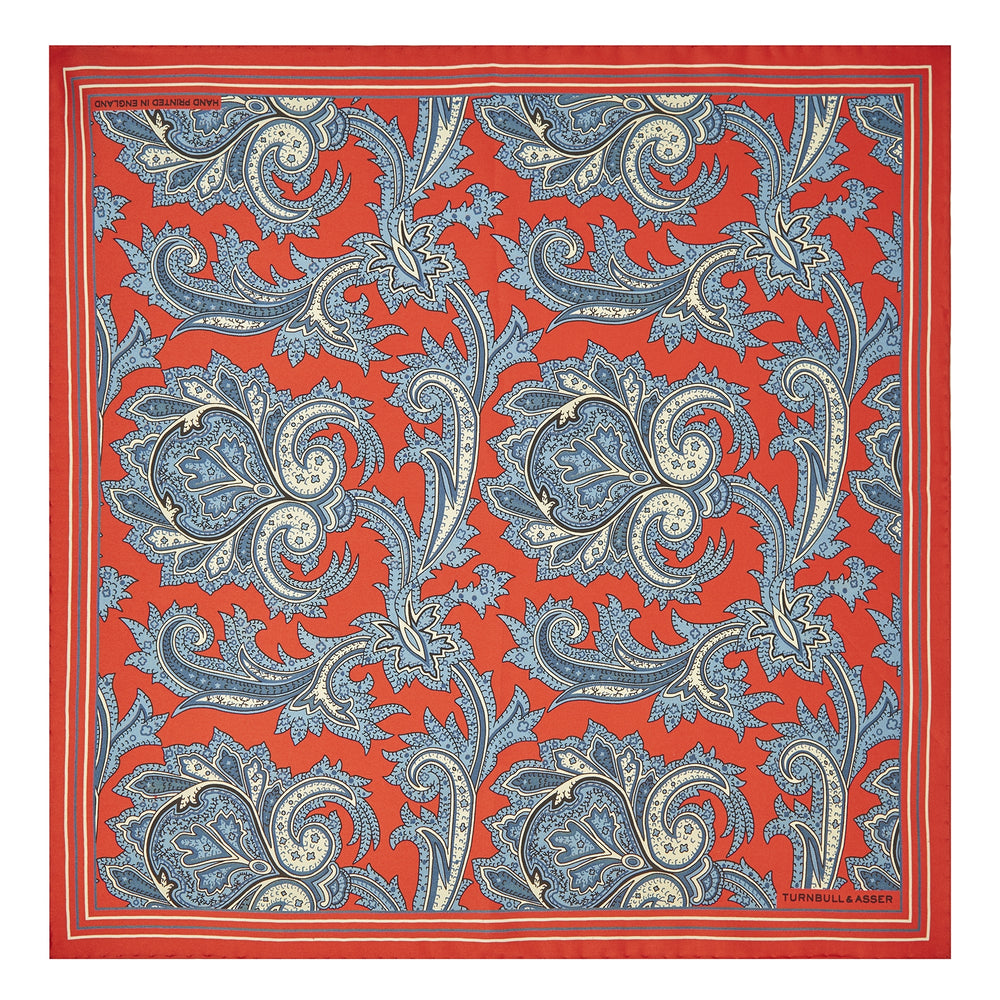 Red and Blue Large Paisley Silk Pocket Square