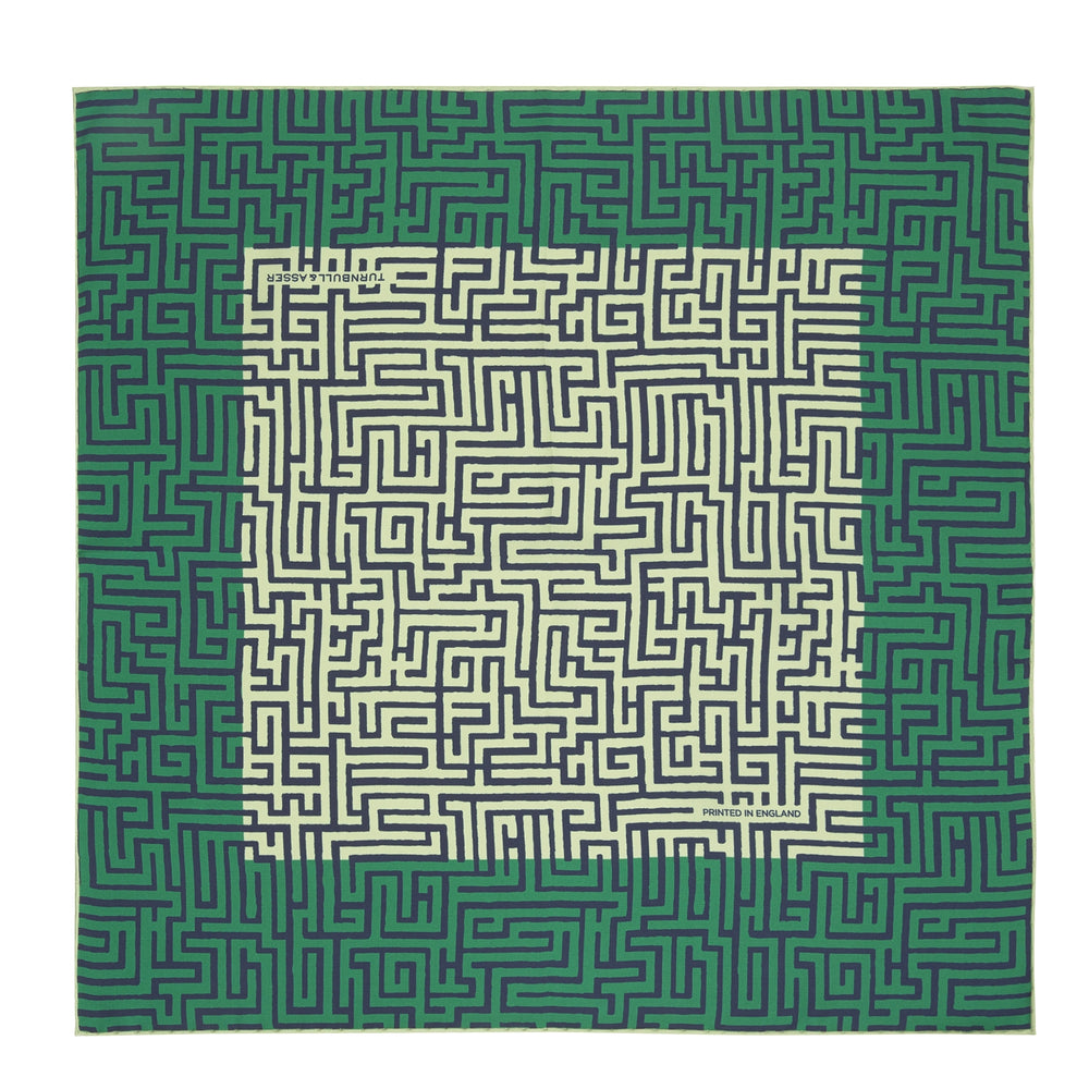 Green Maze Silk Pocket Square