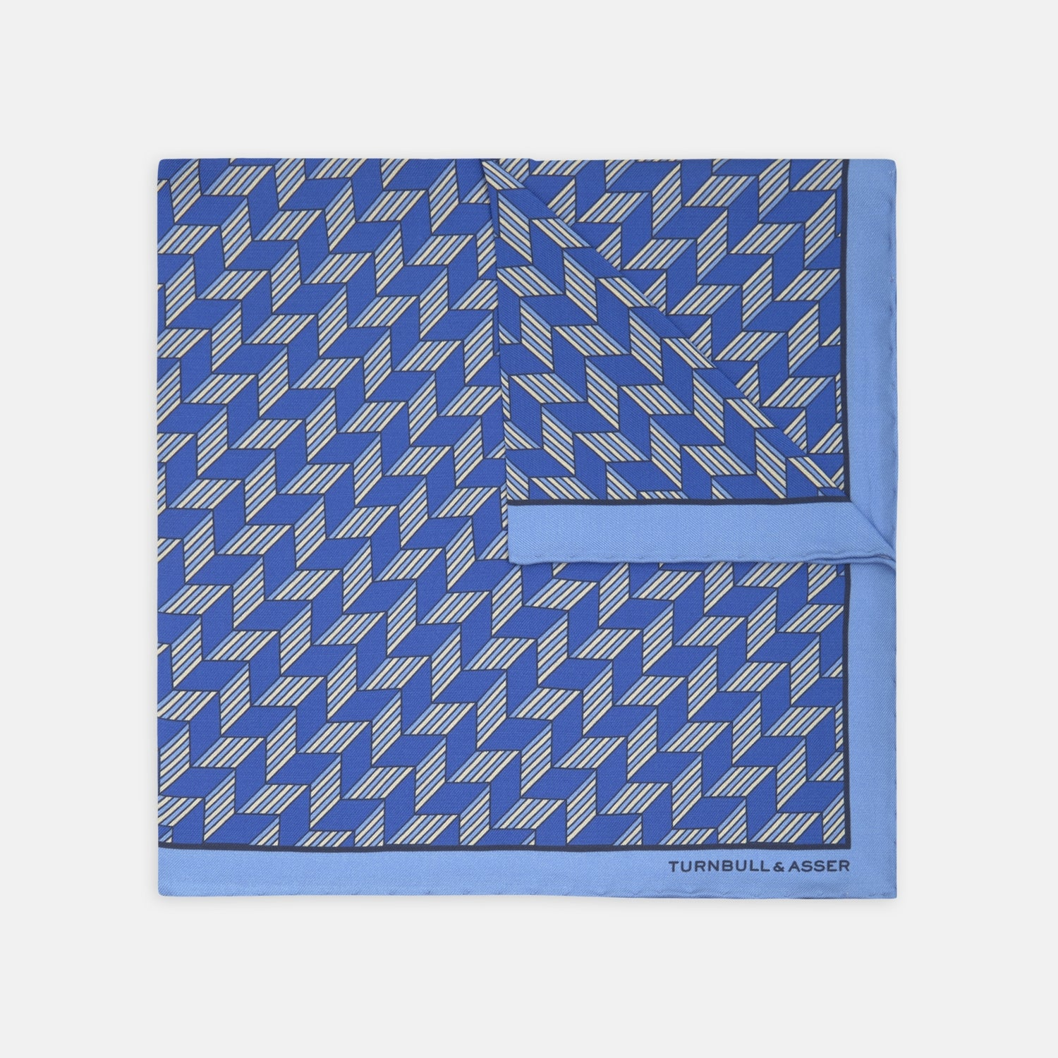 Blue Arrow Silk Pocket Square
