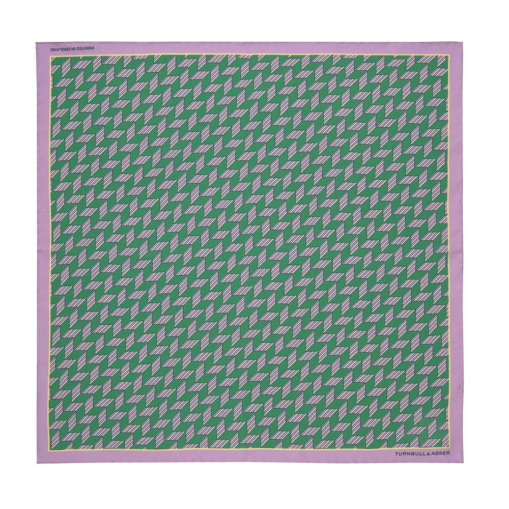Green and Purple Arrow Silk Pocket Square
