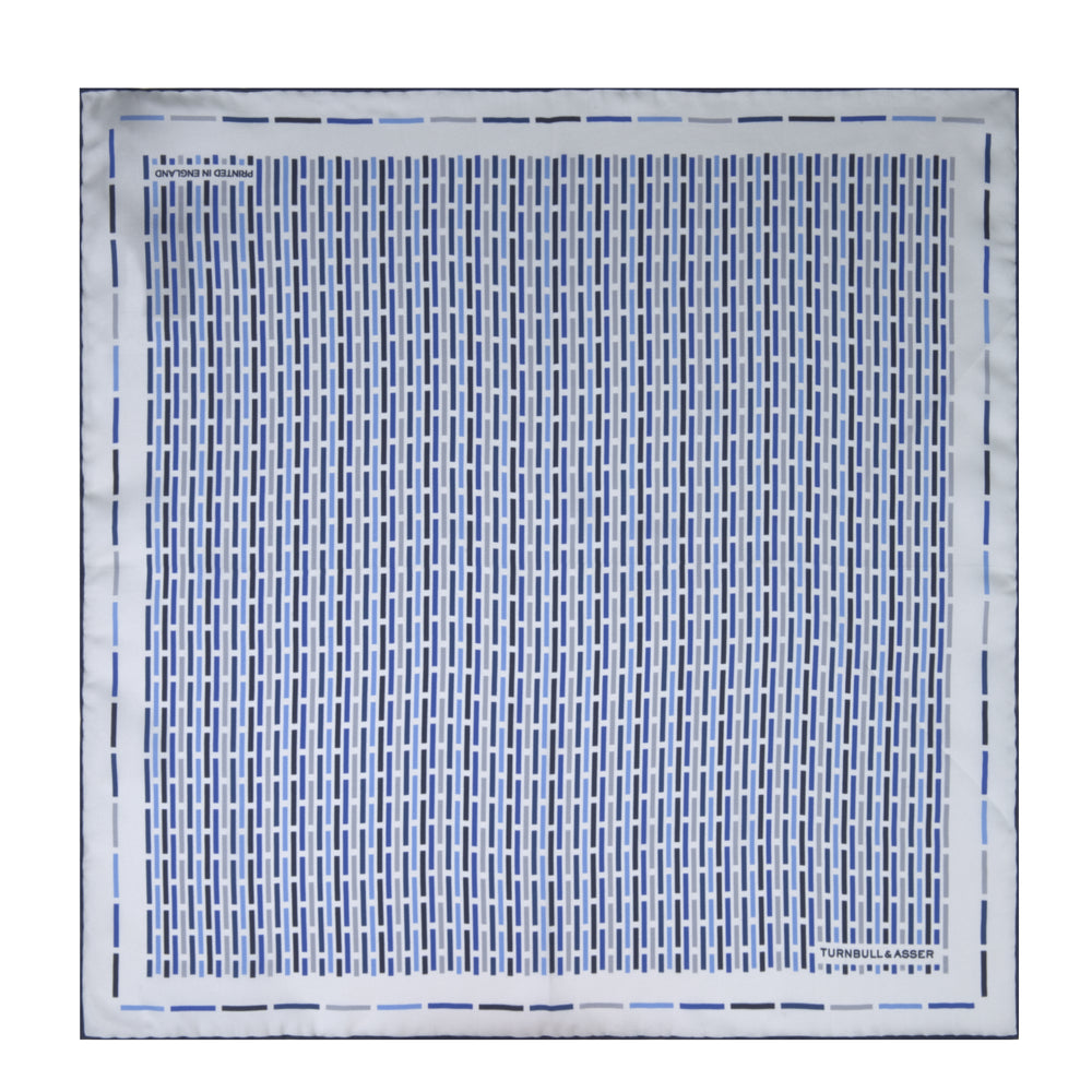 Blue Ladder Silk Pocket Square