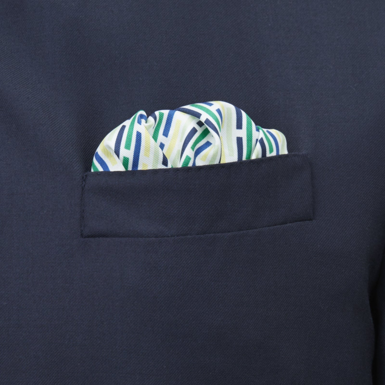 Green, Yellow and Navy Ladder Silk Pocket Square