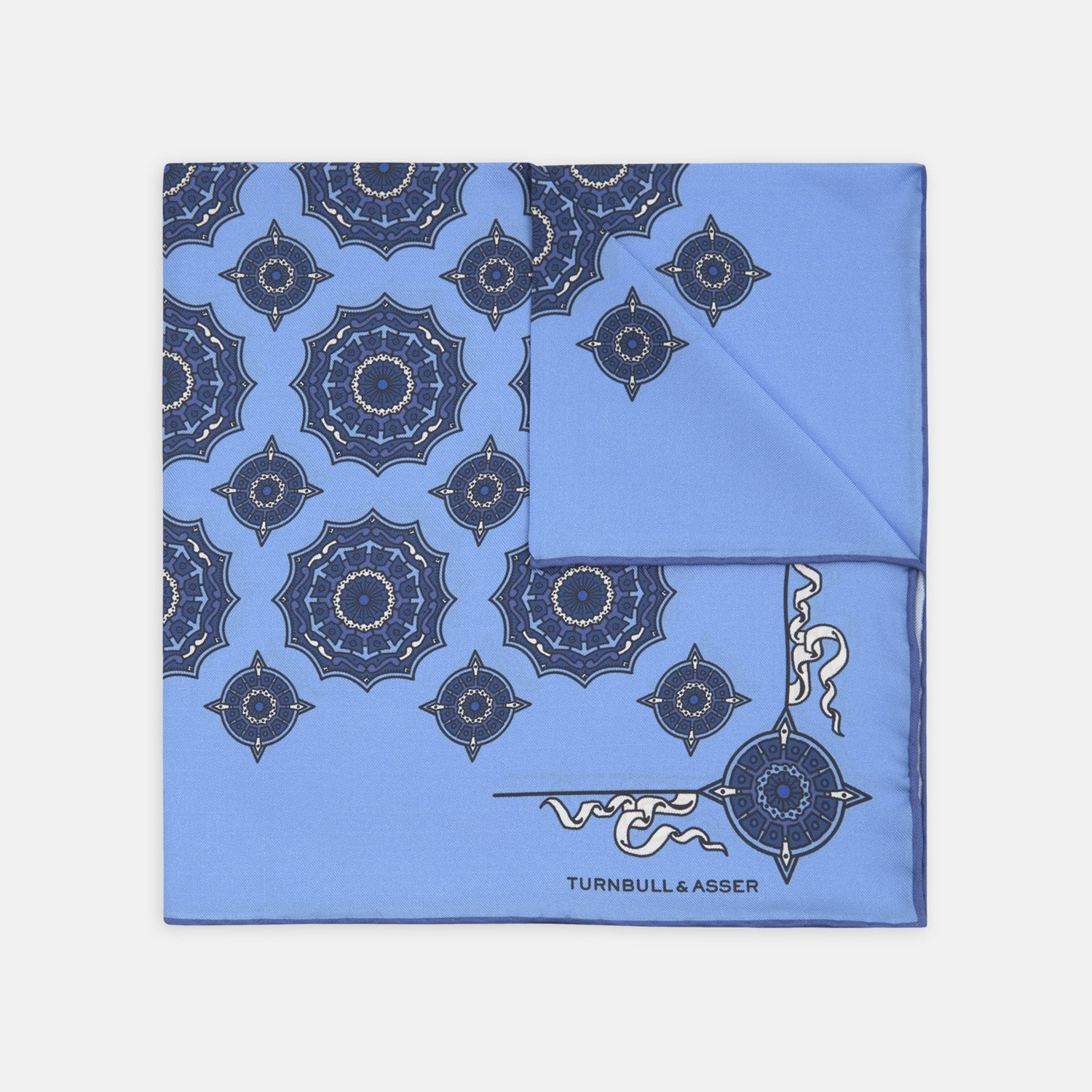 Sky Blue and Navy Compass Silk Pocket Square