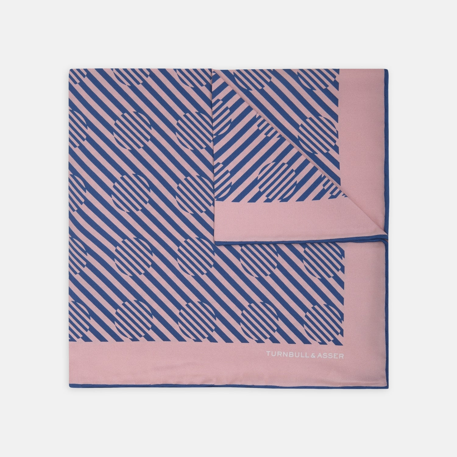 Pastel Pink and Navy Optic Spot Silk Pocket Square