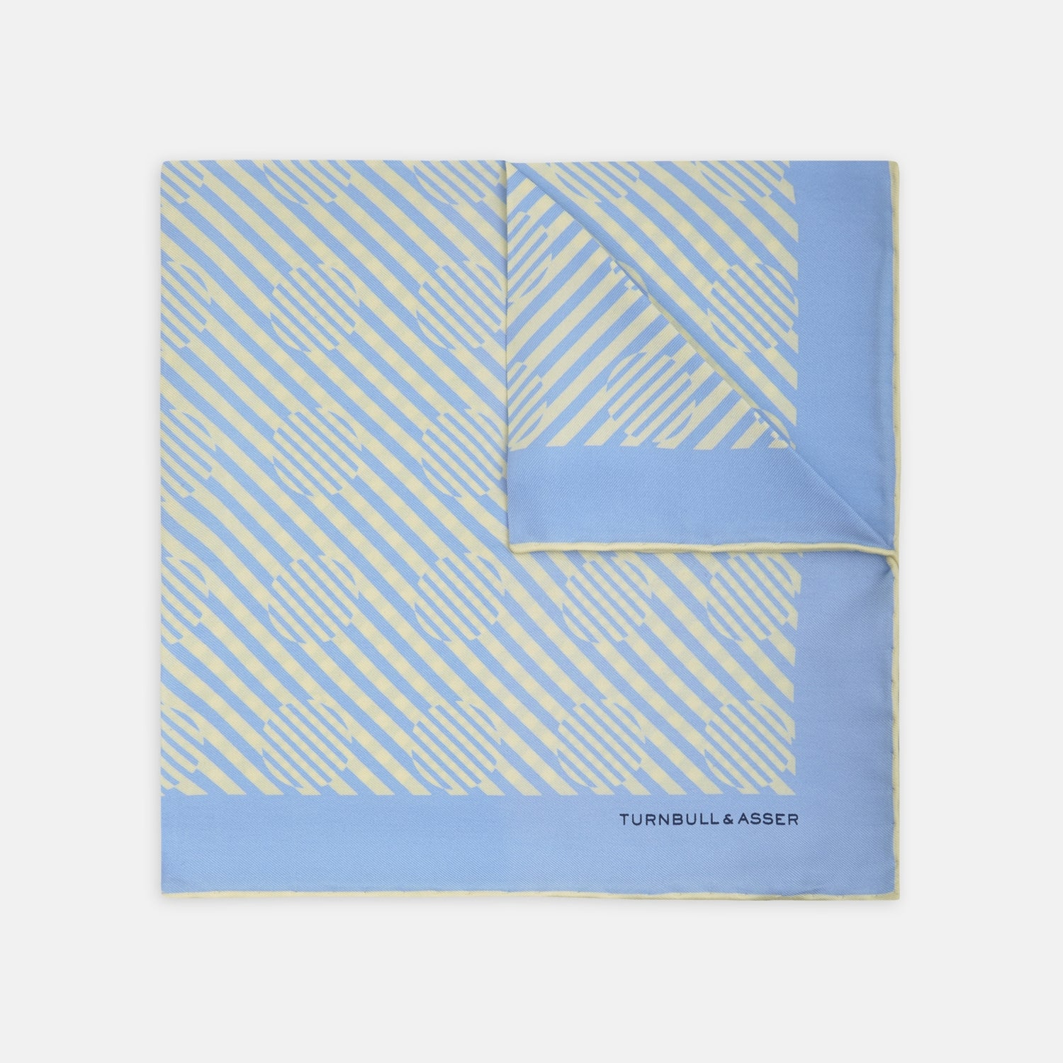 Sky Blue and Cream Optic Spot Silk Pocket Square