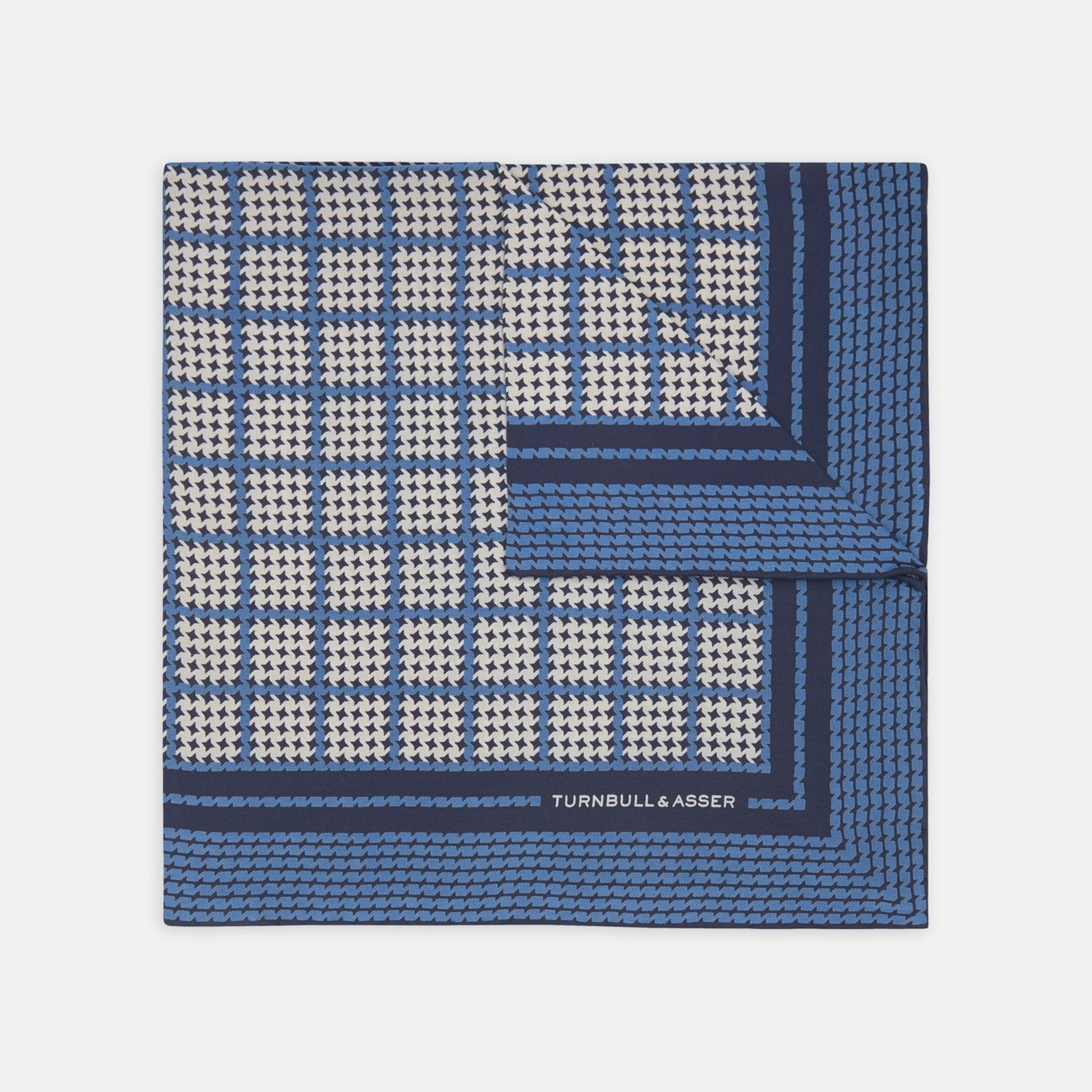 Blue Houndstooth Check Silk Pocket Square