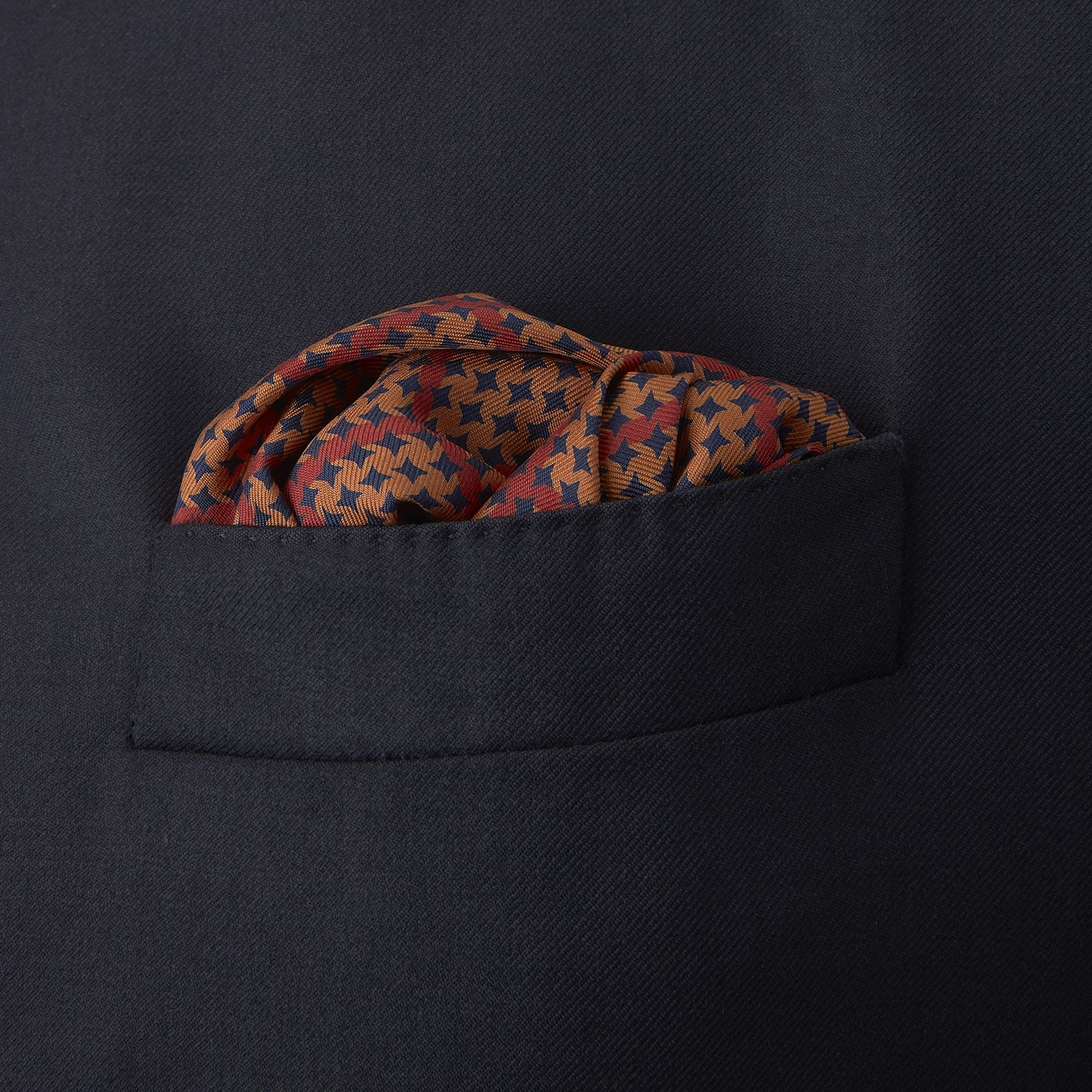 Red and Navy Houndstooth Check Silk Pocket Square