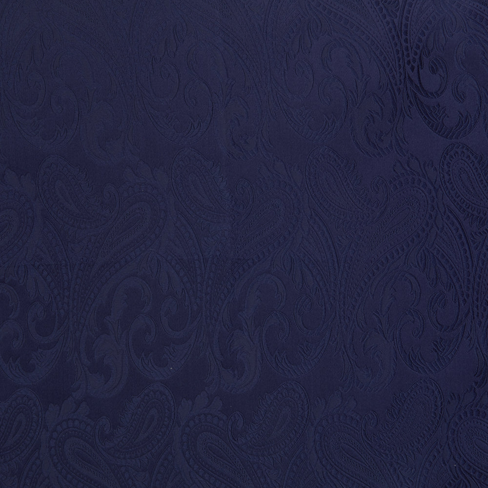 Navy House Paisley Hand-Rolled Silk Pocket Square