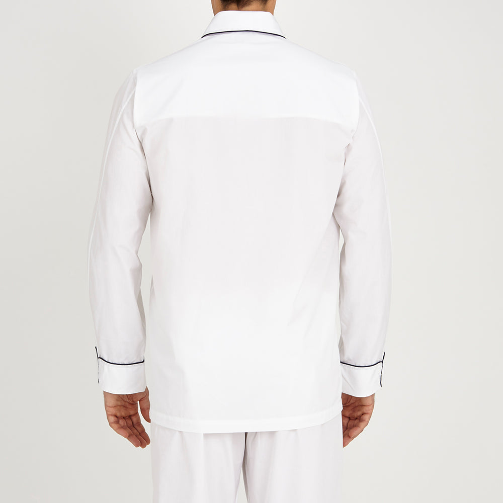 White Piped Cotton Pyjama Set
