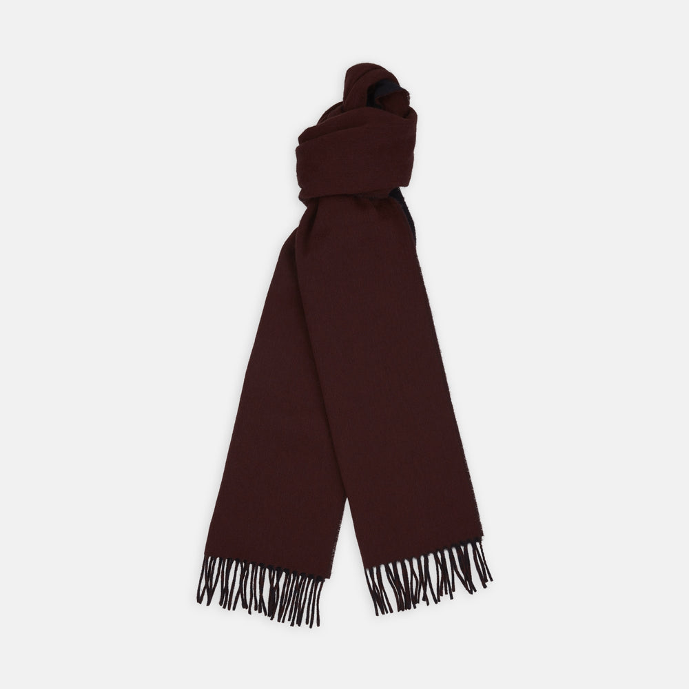 Wine and Navy Reversible Cashmere Scarf