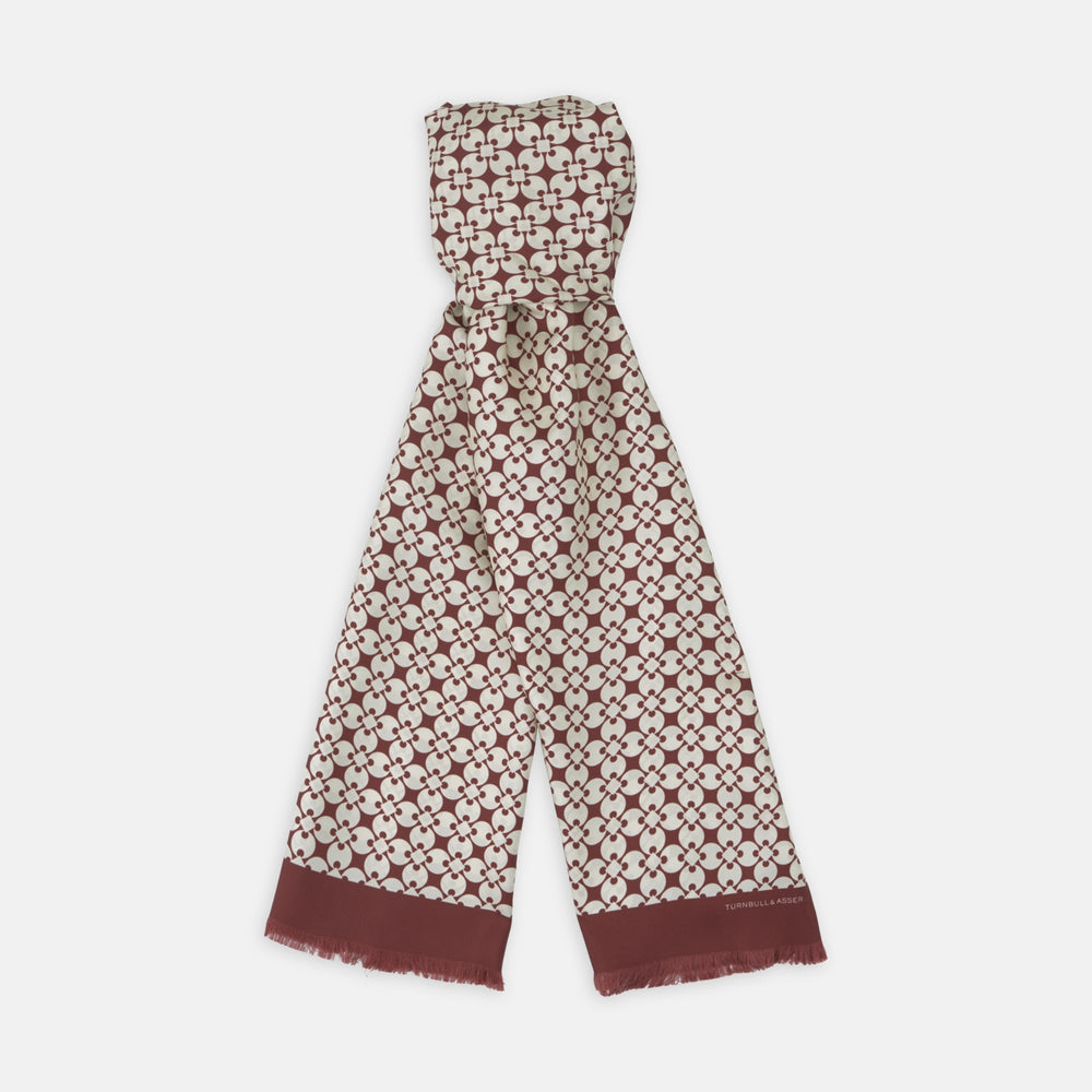 Red and White Vanguard Spot Silk Scarf