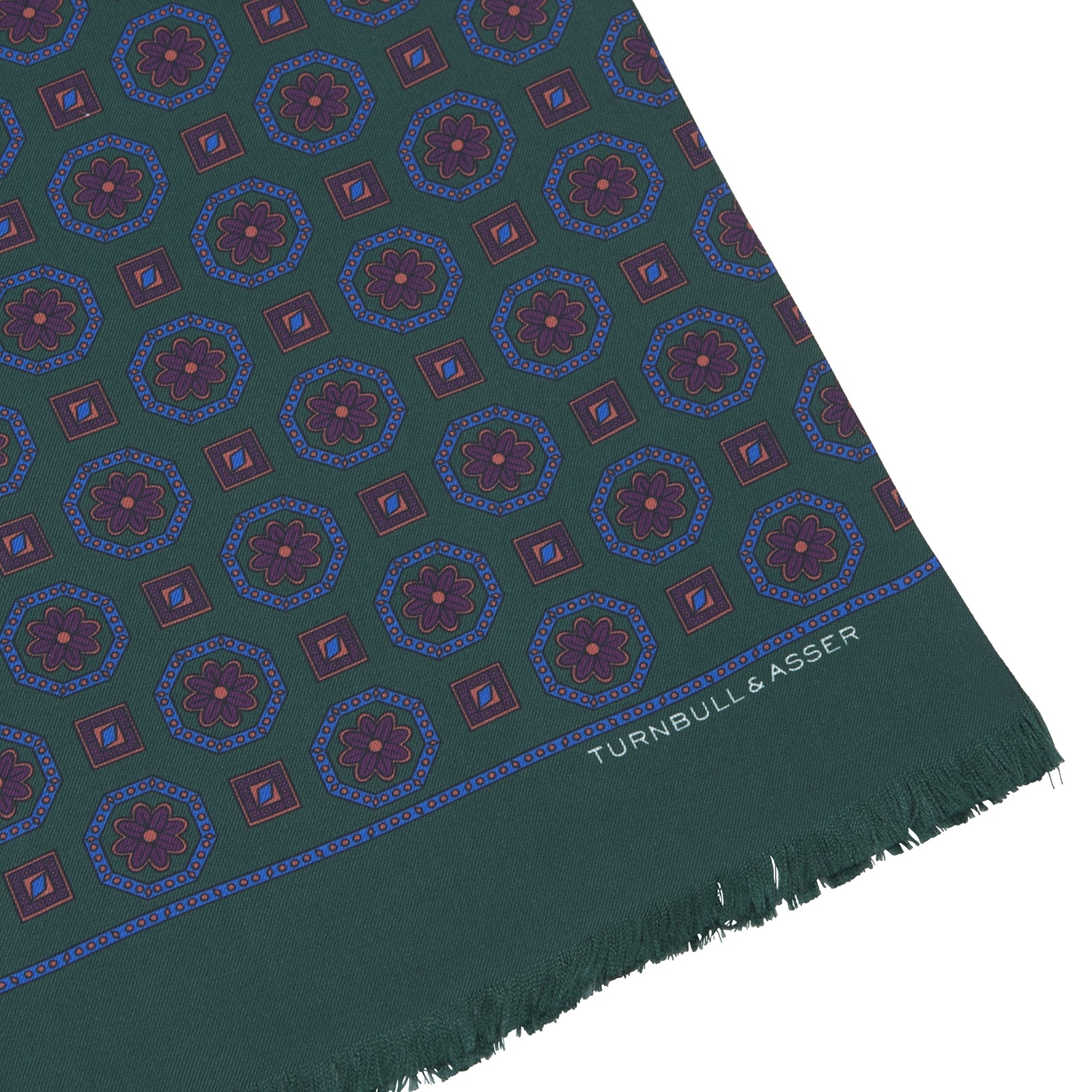 Forest Green Medallion Print Silk Scarf