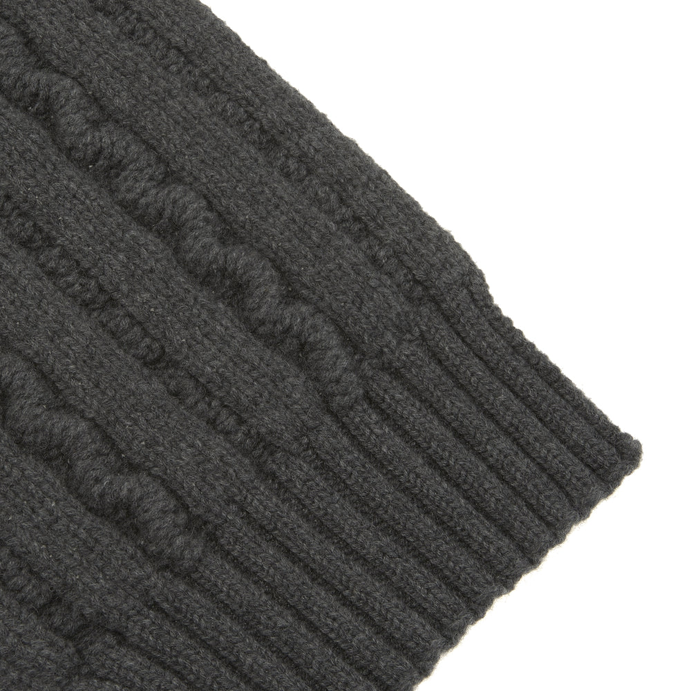Dark Grey Cable Knit Cashmere Scarf