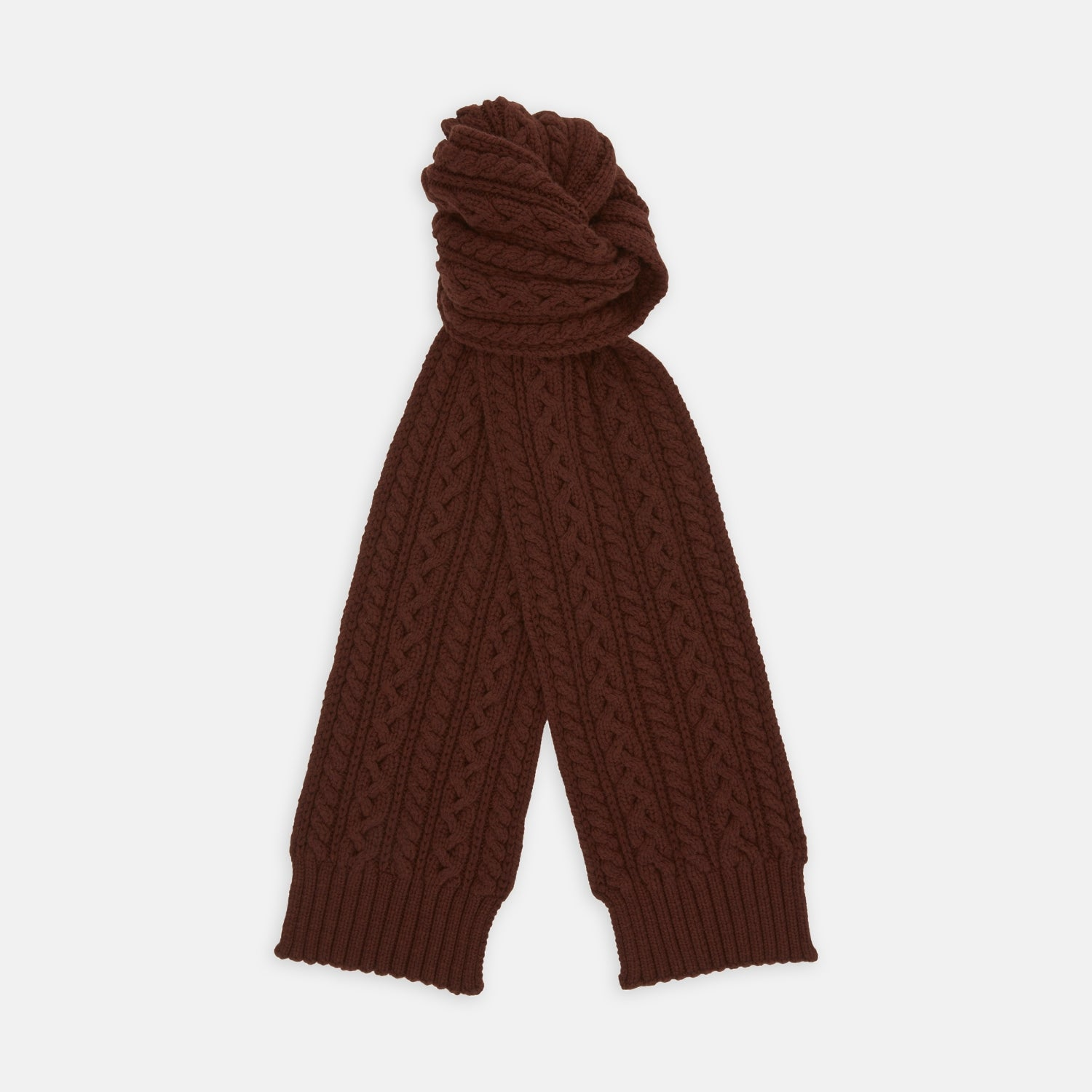 Red Grouse Cable Knit Cashmere Scarf