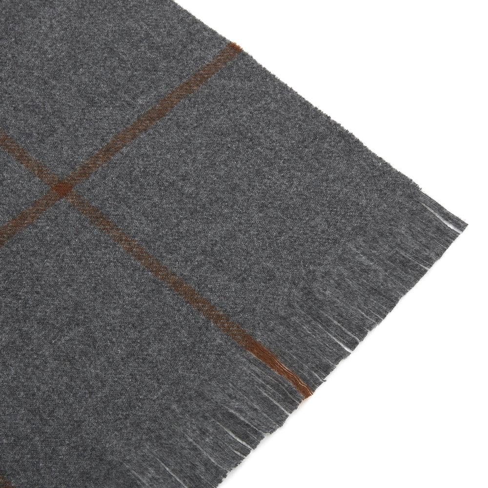 Grey and Orange Check Escorial Wool Scarf