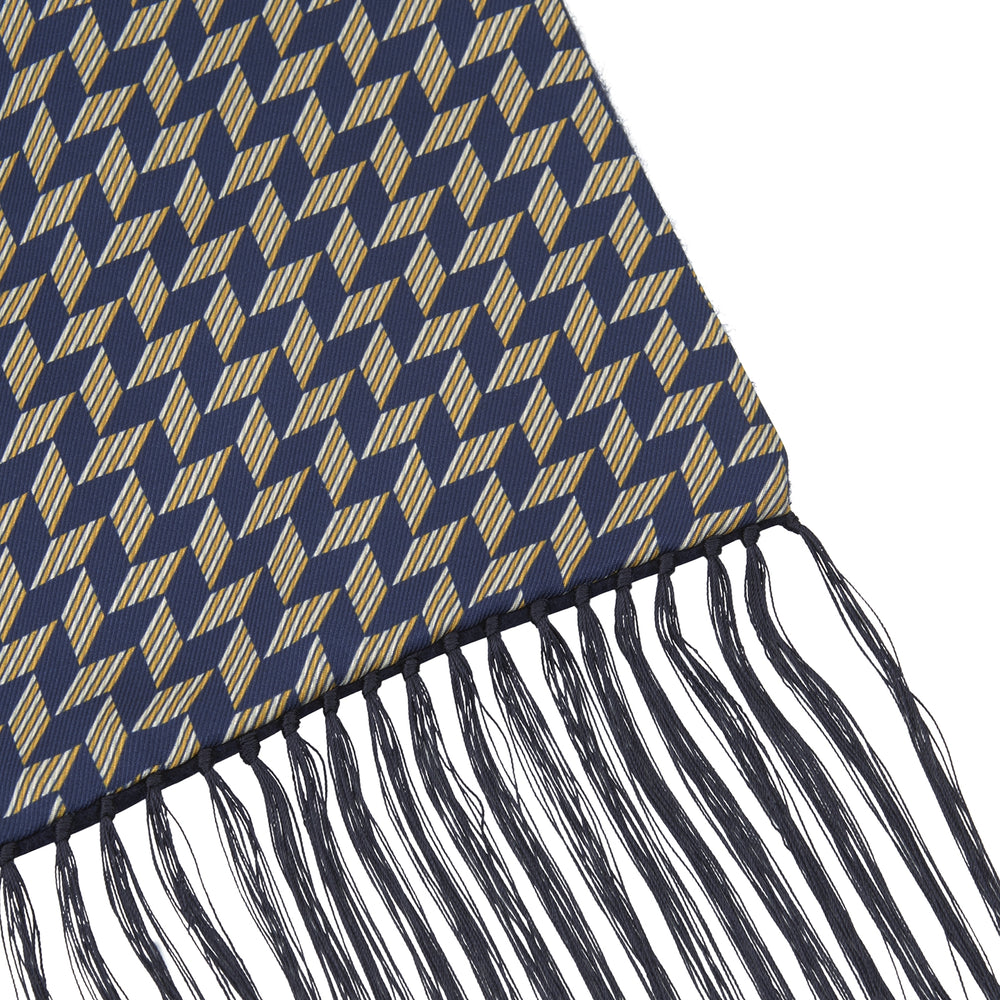 Navy Zig-Zag Silk and Cashmere Scarf