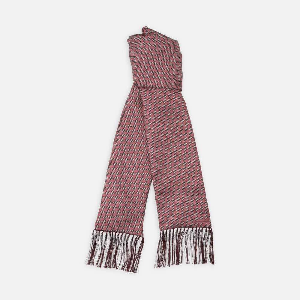 Soft Red Zig-Zag Silk and Cashmere Scarf