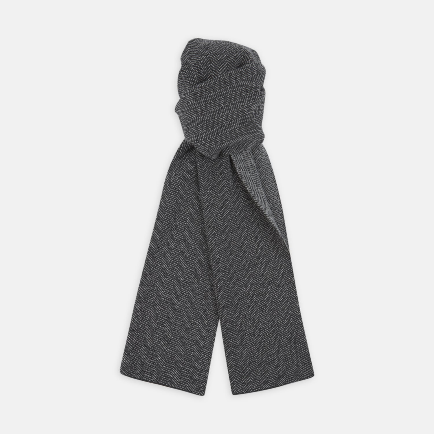 Reversible Dark Grey Herringbone Cashmere Scarf