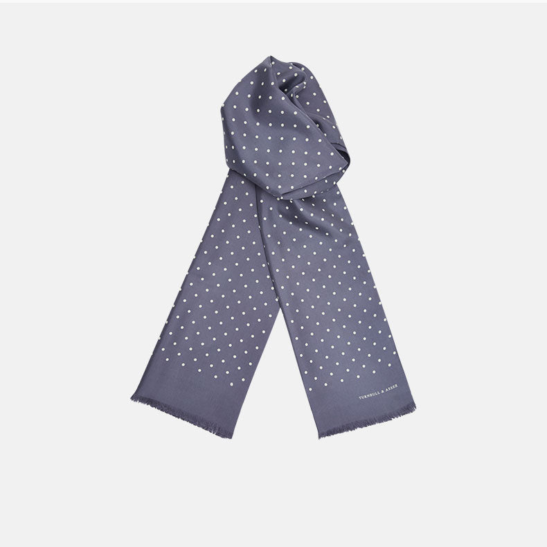 Grey and White Spotted Silk Scarf
