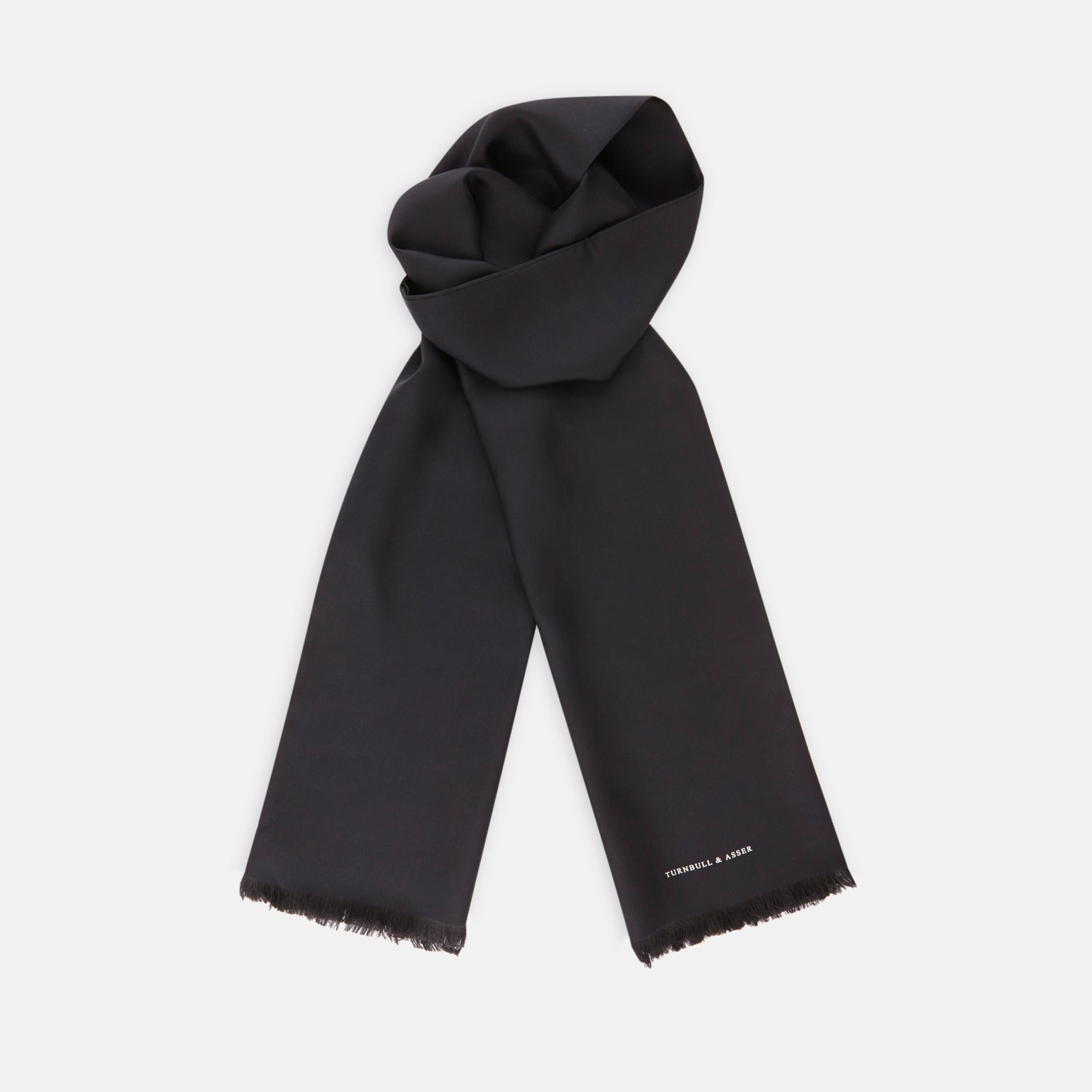 Plain Black Silk Scarf