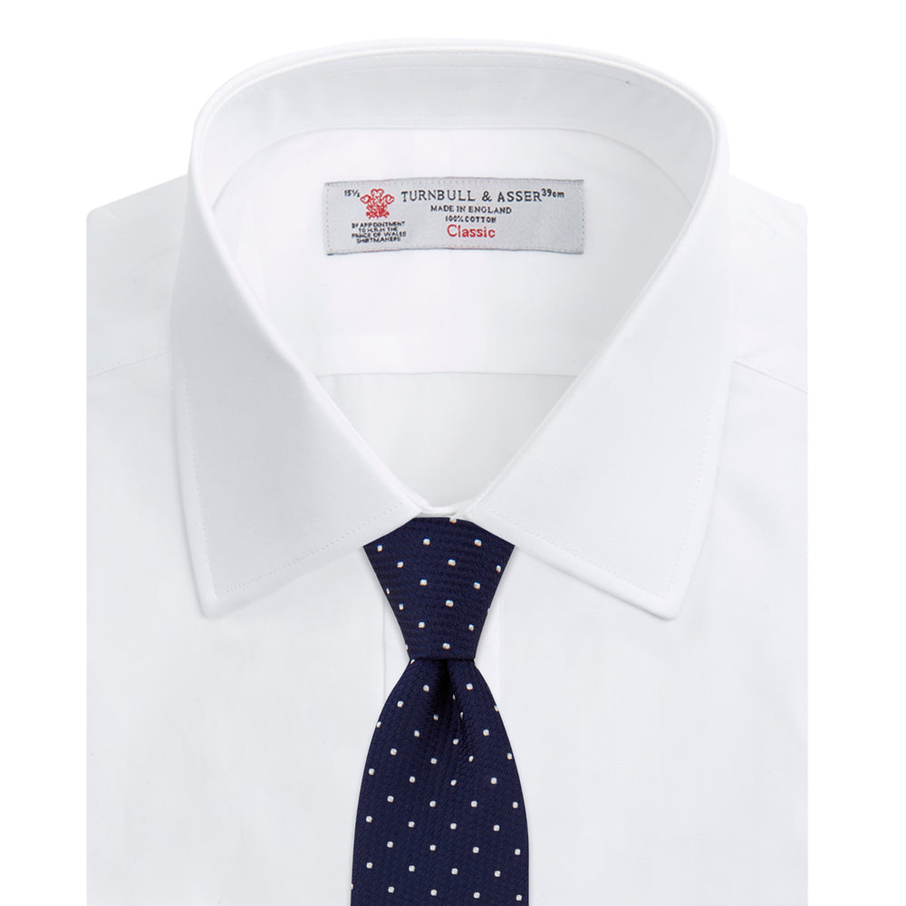 Plain White Cotton Shirt with T&A Collar and Double Cuffs