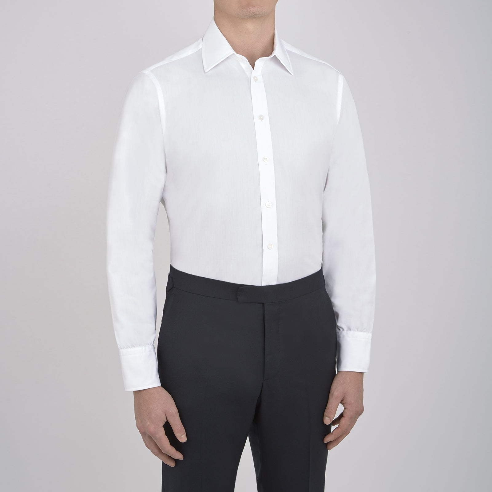Plain White Cotton Shirt with T&A Collar and 3-Button Cuffs