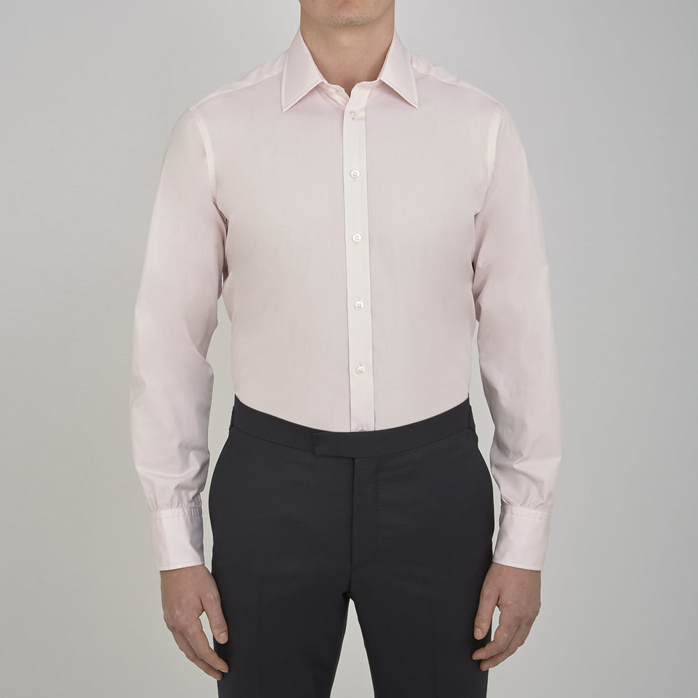 Pink Cotton Shirt with T&A Collar and 3-Button Cuffs