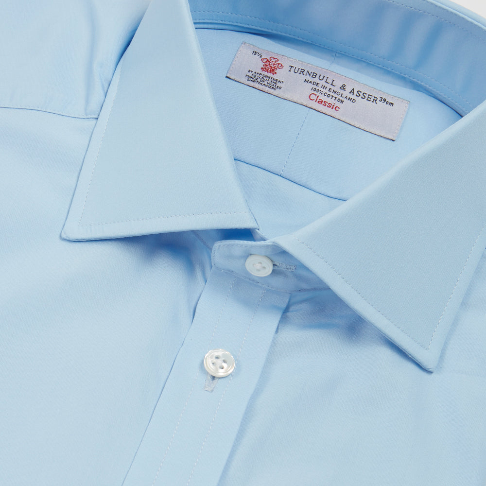 BLUE SHIRT WITH REGENT COLLAR AND 2-BUTTON COCKTAIL CUFFS