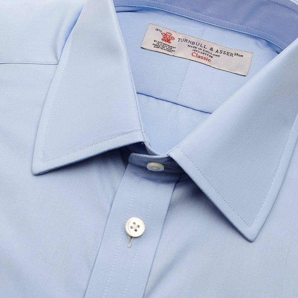 Blue Cotton Shirt with T&A Collar and Double Cuffs
