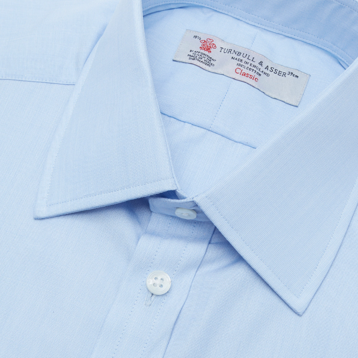 Light Blue End-on-End Shirt with T&A Collar and 3-Button Cuffs